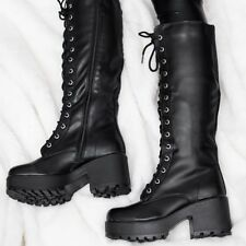 SPYLOVEBUY JEDEYE HEELED CLEATED SOLE LACED LEATHER STYLE KNEE HIGH BOOTS