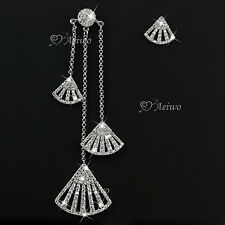 18k white gold filled clear crystal fan shaped  stud unbalanced earrings sector