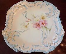 """RS Prussia Platter 11"""" Plate Porcelain Hand Painted Old Mold 36 Azaleas 1896"""