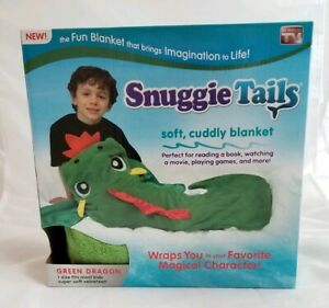 NEW In Box Snuggie Tails Soft, Cuddly Kids Blanket, Green Dragon As Seen On TV