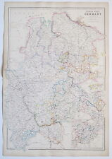 GERMANY NORTH WEST 1859 GENUINE ANTIQUE MAP BLACKIE OUTLINE HAND COLOURING