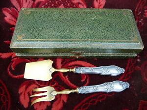 Boxed 1904 Antique French silver dessert set Art Nouveau minerva