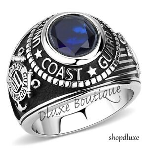 Men's Stainless Steel Simulated Sapphire US Coast Guard Military Ring Size 8-14