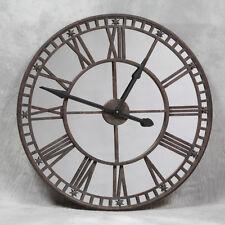 Gran Espejo Antiguo Reloj con industrial cara 81cm