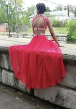 Red Prom Dress Size 4 Sparkly Two Piece Halter Dress With Earrings