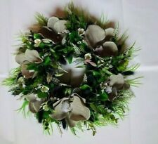 Artificial flower wreath blue white orchid lavender daisy eucalyptus home decor