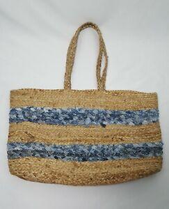Magid Beach Tote Bag XL Beige Blue Striped Dual Handle Stretch Jute Blend Boho