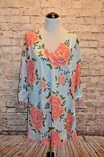 Modcloth Shade Your Groove Thing Cover-Up Sky NWT Floral Boho Sheer Floral Pom