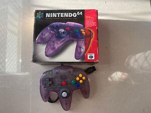 Nintendo 64 Clear Purple Controller in Box - Aus Version - Stick Missing Insert