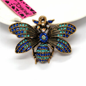Betsey Johnson Woman Brooch Pin Fashion Blue Vintage Crystal Honeybee Rhinestone