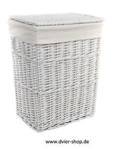Wäschekorb Wäschetruhe Weide weiß Deckel Handgriff Bezug 3 Varianten 08WRt