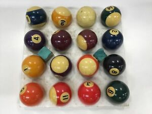 Pool Snooker Billiard Balls - 16 Ball Set + 2 Chalk Boxes (Used)