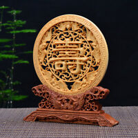 Chinese Box-wood Hand-carved Exquisite  Five Bats Roundel Statue 寿