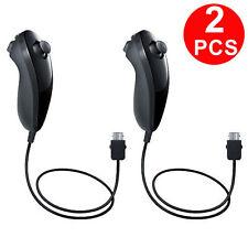 2x Black Nunchuk Nunchuck Controller Remote for Nintendo Wii Wii U Console Games