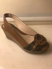 Fendi Women Wedges Shoes Zucca  Leather Brown 35 Italy Dustbag