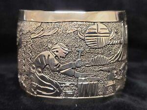Native American Navajo Sterling Silver Storyteller Cuff Bracelet -Elaine Becenti