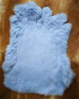 1x Real Rabbit Skin Fur Pelt Leather Animal Training Crafts Fly Tying Light Blue