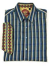 3e68344476c Robert Graham Blue Stripe Contrast Dots Flip Cuff Long Sleeve Shirt Size XL