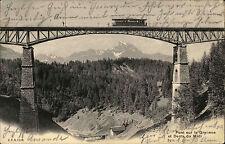 Gryon Schweiz Waadt AK 1905 Pont Gryonne Dents du Midi Brücke mit Eisenbahn
