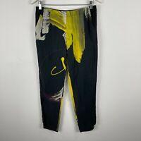 Lounge Womens Silk Pants Small Black Abstract Elastic Waist Pockets