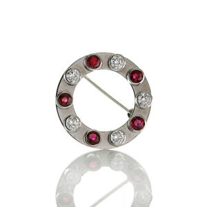 760er White Gold Wreath Brooch Diamonds VVS And Vs, H Approx. 0.95 CT Ruby