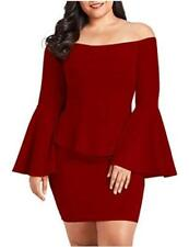 VINKKE Womens Peplum Off The Shoulder Party Plus Size, Wine Red, Size XX-Large Z