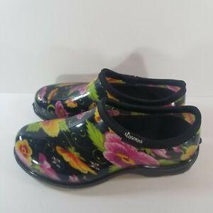 Sloggers Womens Size 6 Rain & Garden Black Floral Clogs Waterproof Shoes