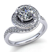 0.5ctw Round Cut Diamond Ladies Twisted Halo Solitaire Engagement Ring 18K Gold