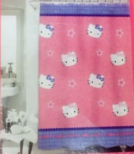 "Hello Kitty by Sanrio Fabric Shower Curtain 72 x 72"" BRAND NEW Pink Purple Gift"
