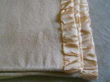 Vtg Waverley Lambswool 100% Wool Tan Blanket-Peachy Satin Binding-S. Africa