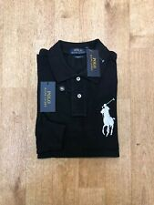 Ralph Lauren Men's Big Pony Long Sleeve Polo - Custom Fit  - Black - Medium