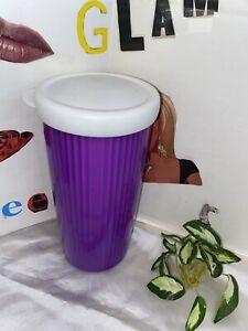 Tupperware 24 oz PURPLE & White Insulated Tumbler & Lid #3329A