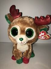 """TY ALPINE REINDEER 6"""" BEANIE BOOS- NEW, MINT RED TAG-RETIRED, HTF-LOVES TO PLAY"""