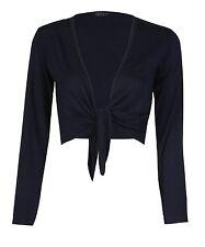 Women's Long Sleeve Tie up Ladies Bolero Shrug Cardigan Top Plus Size 8-22 16-18 Navy