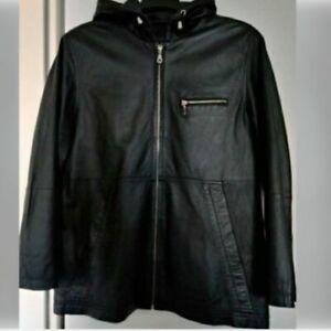 schwarze Damenlederjacke mit Kapuze in Gr. 46 - wie neu -
