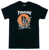 THRASHER Magazine Outlaw Pushead Old School Art Logo Black T-Shirt AUTHENTIC