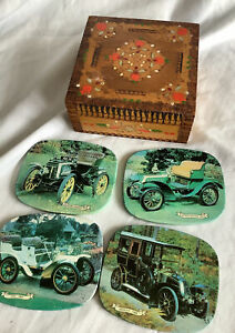 Vintage Car Coasters X 4 In Wooden Box As Found