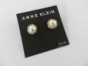 Anne Klein Gold Tone Pearl Stud Earrings - New