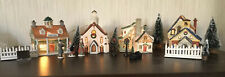 Vtg Porcelain Lighted Christmas Village Set Lemax 4 Buildings Trees People Fence