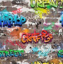 Graffiti Wallpaper Multicoloured Urban Brick Style Luxury Heavyweight Fine Decor