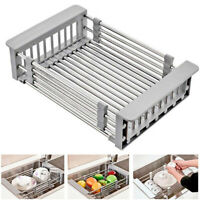 Home Kitchen Adjustable Sink Drain Basket Vegetable Fruit Holder Storage Rack