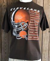 Cleveland Browns Men's XL Tshirt Vintage 90's NFL Logo 7 Brown Short Sleeve