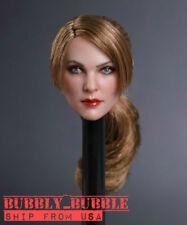 "1/6 Female Head Sculpt Brown Hair GC019 A For 12"" PHICEN Hot Toys Figure ☆USA☆"