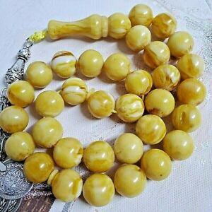 nice German bakelite 33 Prayer Beads amber faturan necklace worry beads komboloi