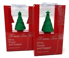 Wine Pourer and Bottle Stopper Festive Christmas Tree Novelty Gift  Twin Pack
