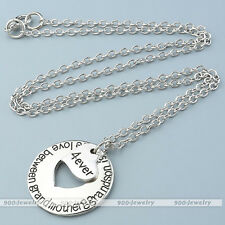 Fashion Silvery Grandmother-Grandson Inner Heart Pendant Chain Necklace Jewelry