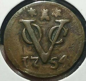 Netheland Indies KM152  1 Duit 1754 Nice Vintage Coin