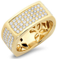 2.89ctw NATURAL ROUND DIAMOND 14K SOLID YELLOW GOLD MEN'S RING IN SIZE 9 TO 11