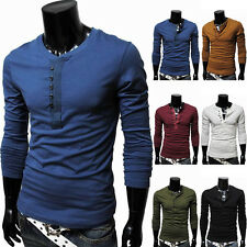 Men's Buttons V Neck T-Shirt Plain Casual Slim Fit Long Sleeve Tee Shirts Tops