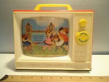 Vintage 1964 Fisher-Price Giant Screen Two Tune TV Music Box Wood Bottom